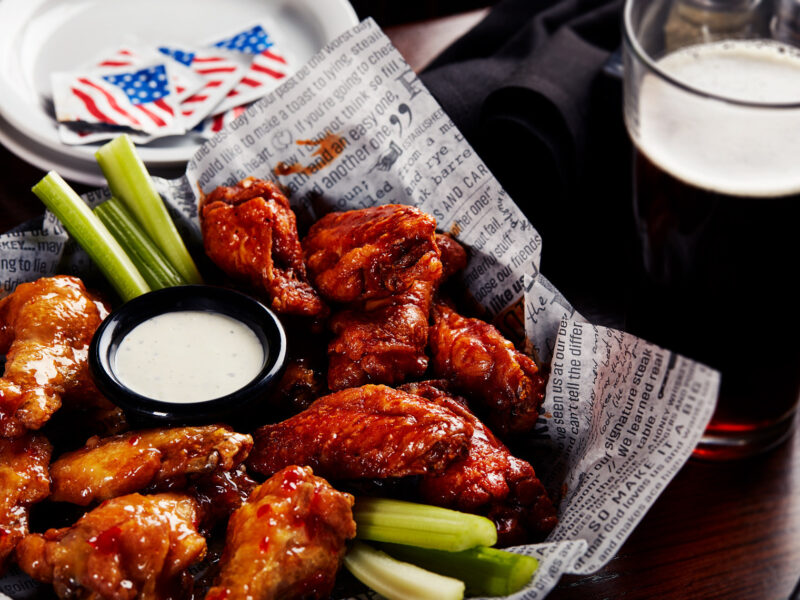 Wings from the local happy hours gameday specials on sports bar and grill Big Whiskey's menu.