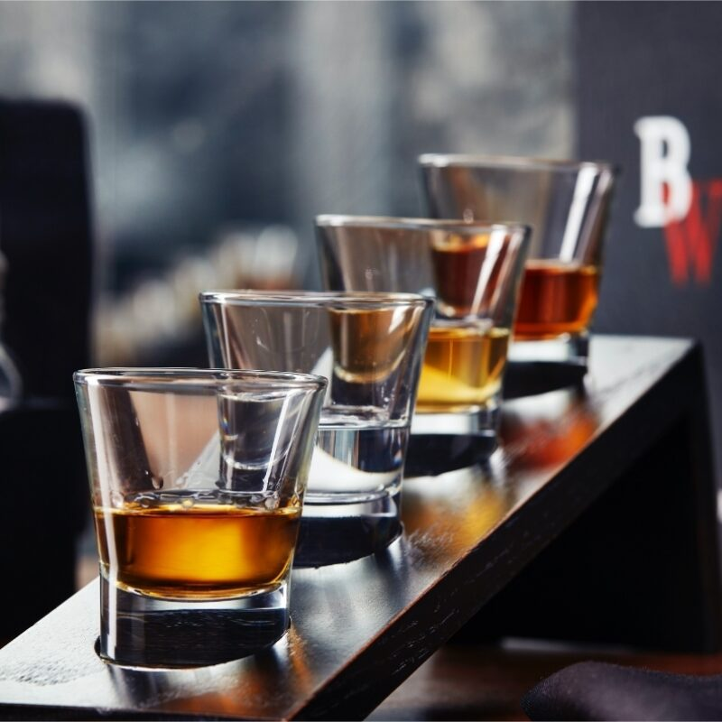 Whiskey flight from sports bar and grill Big Whiskey's gameday menu.